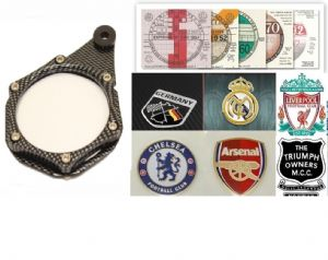 MOTORCYCLE Tax Disc Holder: Coat of Arms, Football Club, Moto Club Badge Holder. Carbon.